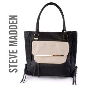 Steve Madden Black Ivory Tote Sachel Shoulder Bag